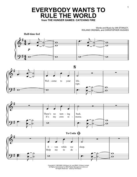 printable lyrics to everybody wants to be a cat everybody wants to rule the world sheet music direct