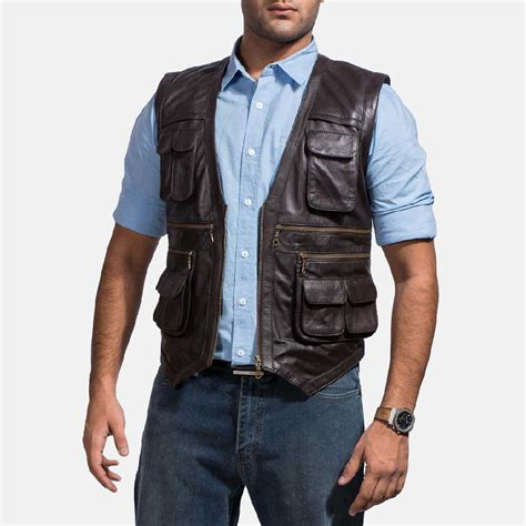 leather vest mens safari brown leather vest