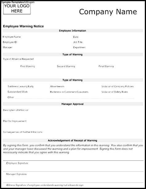 employee warning template employee warning form template sle templates sle