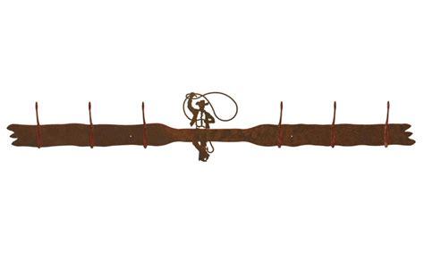 roping cowboy six hook metal wall coat rack