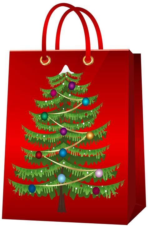 christmas gift bag with christmas tree png clip art image