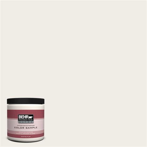 behr premium plus ultra 8 oz ul170 12 silky white interior exterior paint sle ul170 12