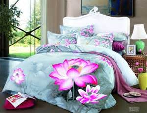 Lotus Flower Bedding Light Blue Floral Lotus Flower Bedding Set For King