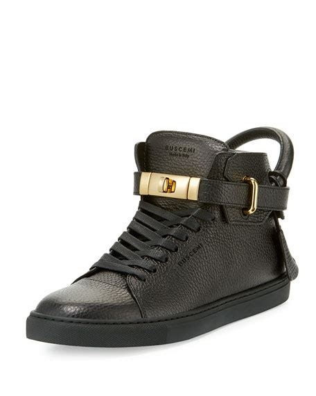 buscemi shoes buscemi 100mm high top leather sneaker with padlock black