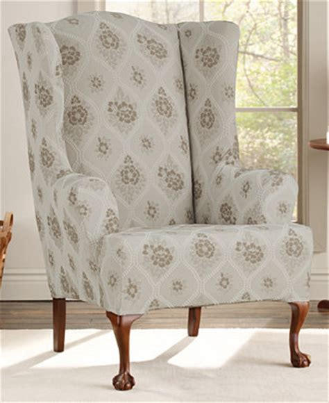 wing chair slipcover 2 piece sure fit stretch vintage floral 2 piece wing chair