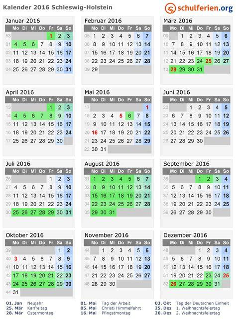 Kalender 2016 Feiertage Kalender 2016 Ferien Schleswig Holstein Feiertage