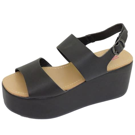 wedge flat shoes dolcis black flat form platform chunky sandals