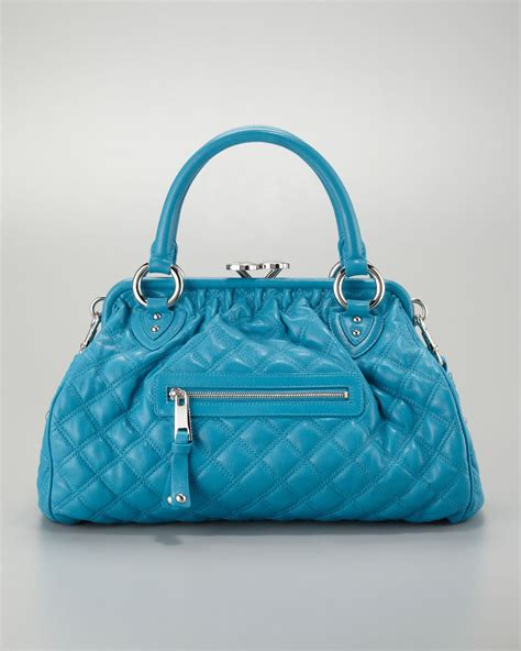 Marc Metallic Patchwork Stam Satchel by Lyst Marc Stam Quilted Satchel Bag Turquoise In Blue