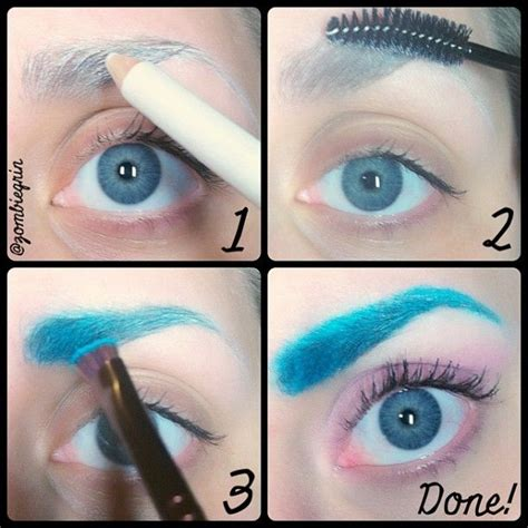 eyeliner tutorial colored pencils colored eyebrow tutorial no glue or wax just white
