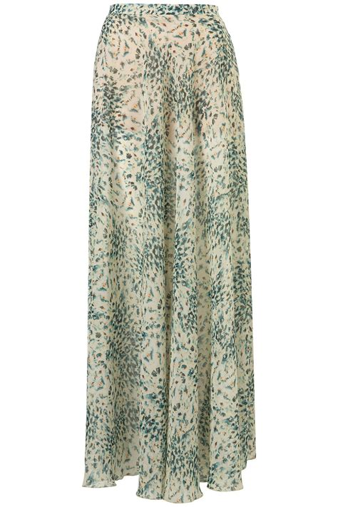 topshop floral print maxi skirt in green multi lyst