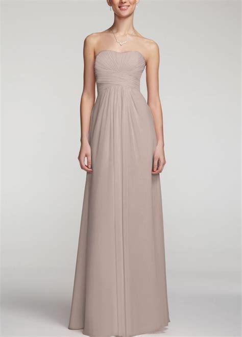 david s bridal strapless chiffon dress wpleated
