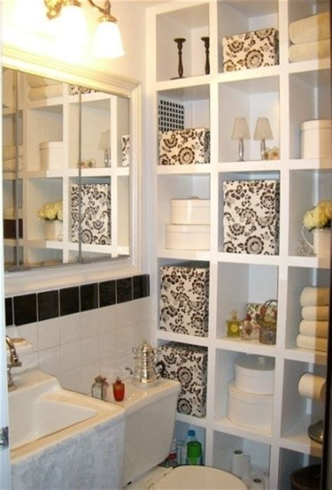 small bathroom storage wall of cubbies beautiful