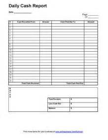 daily cash report template business templates