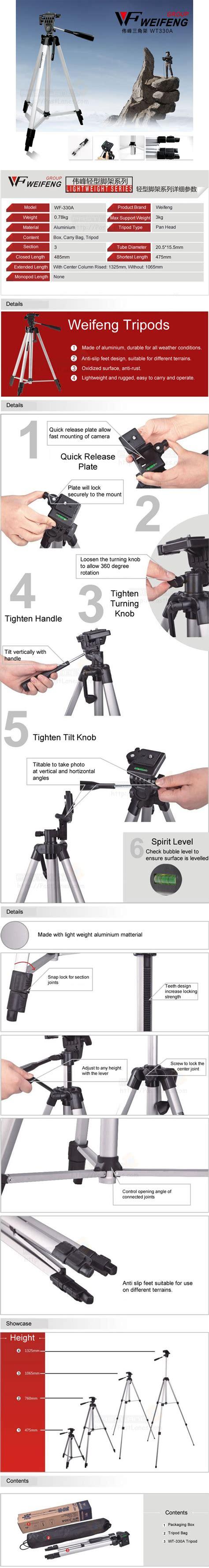 Tripod Weifeng Wt 330a Black weifeng wt 330a lightweight tripod free phone holder