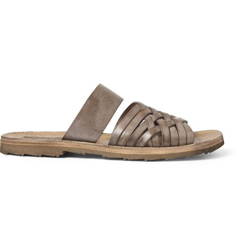 woven sandals for dolce gabbana woven burnished leather sandals in brown