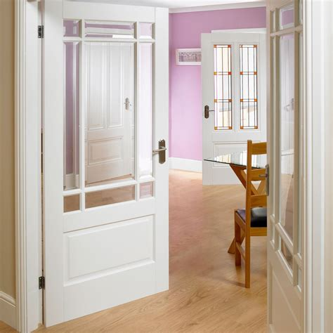 White Interior Glass Doors Downham White Primed Door Pair With Bevelled Clear Safety Glass