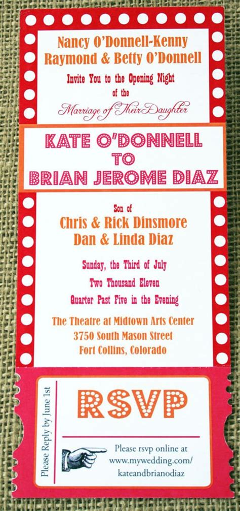 items similar to theater ticket invitation tear away broadway style wedding or