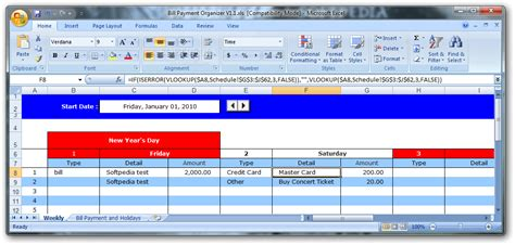 Download Bill Payment Organizer 1 1 Bill Payment Organizer Template Excel