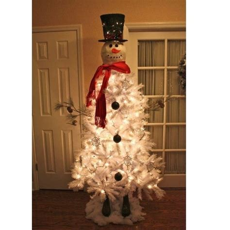 snowman made out of white christmas tree christmas