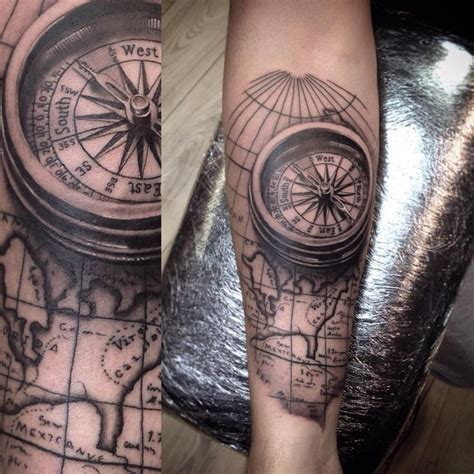 compass tattoo piece compass map forearm piece i tattooed today tattoo