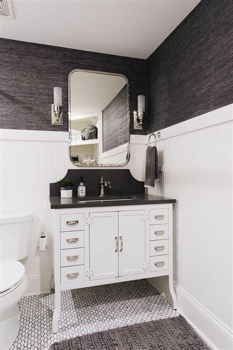 bathroom  beadboard wainscoting metal bathroom vanity