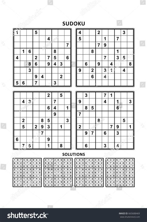 comfortable crossword clue four sudoku puzzles comfortable easy yet stock vector