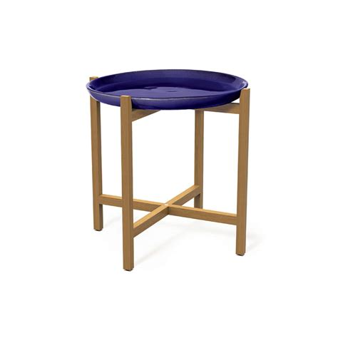 navy blue accent table seasonal living ibis ceramic plate teak accent table