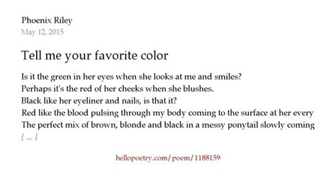 what does my favorite color tell about me tell me your favorite color by maxwell hello poetry
