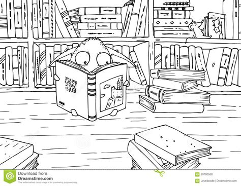 library books coloring pages www pixshark com images coloring page for children little monster in library