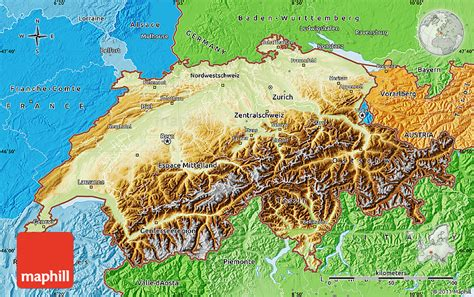 physical map of switzerland schweiz geographischen karte