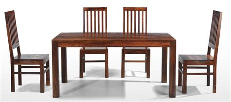 cube sheesham 160 cm dining table and 4 chairs quercus