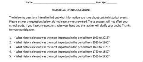 Open Ended Questionnaire To Assess Students Historical Knowledge Open Ended Survey Template
