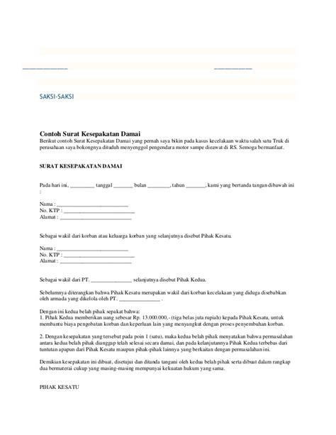 format surat pernyataan damai contoh surat pernyataan damai kecelakaan