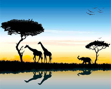 safari  africa silhouette landscape vector ai svg