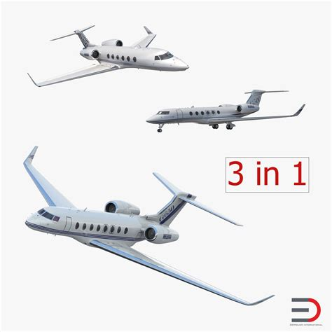 model commercial jets 3d gulfstream business jets rigged model