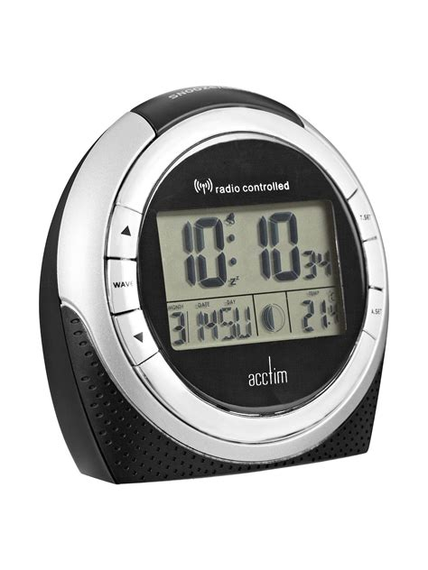 acctim zenith radio controlled lcd alarm clock black at lewis partners