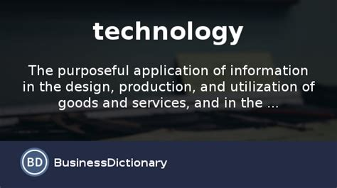 Design Technology Definition | what is technology definition and meaning