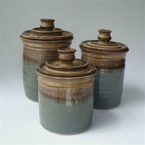 blue kitchen canisters pottery canister set ships in 1 week kitchen set of 3 jars