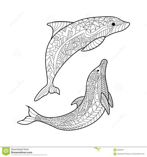 coloring pages for adults dolphins dolphin coloring book for adults vector stock vector