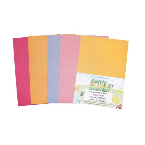 a3 assorted colours sugar paper pack of 250 sheets