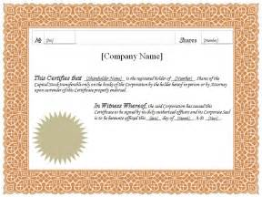 Stock Certificate Template Pdf by Formatted Stock Certificate Templates Certificate Templates