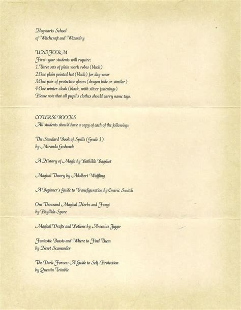 Acceptance Letter For Equipment Hogwarts List Of Necessary Books And Equipment Search