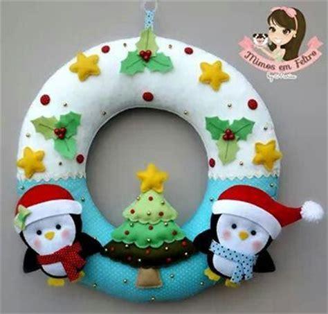 coronas navideas de fieltro corona con ping 252 inos de fieltro navidad pinterest