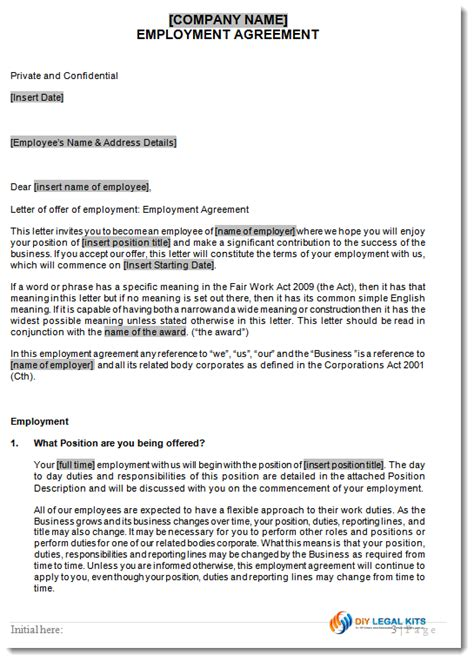 Full Time Employment Agreement Generic Employment Contract Template