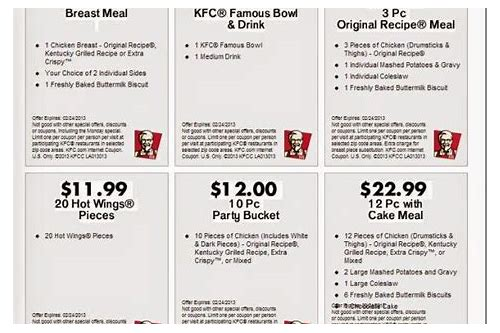 kfc coupons august 2018 printable