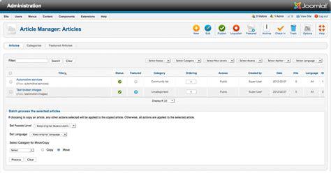 joomla tutorial article manager help25 content article manager joomla documentation