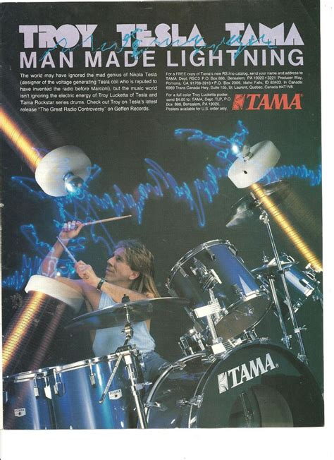 tesla drummer tesla troy lucketta tama drums page promotional ad