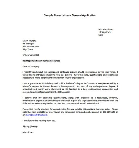sle of a cover letter pdf letter template