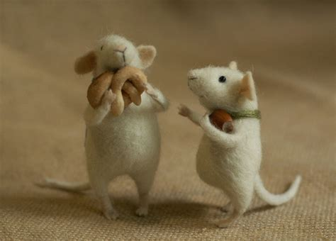 Handmade Mice - handmade stuffed mice by fadeeva felt