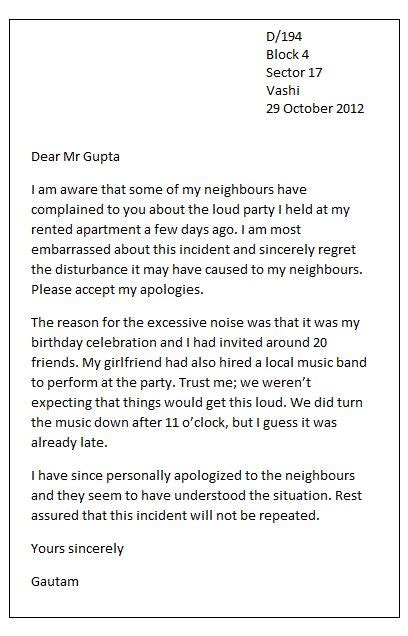 personal apology letter in case of a friendly or